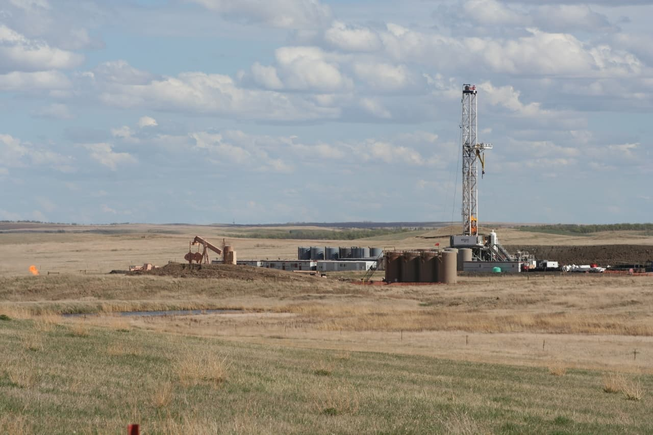 oil drill site and well