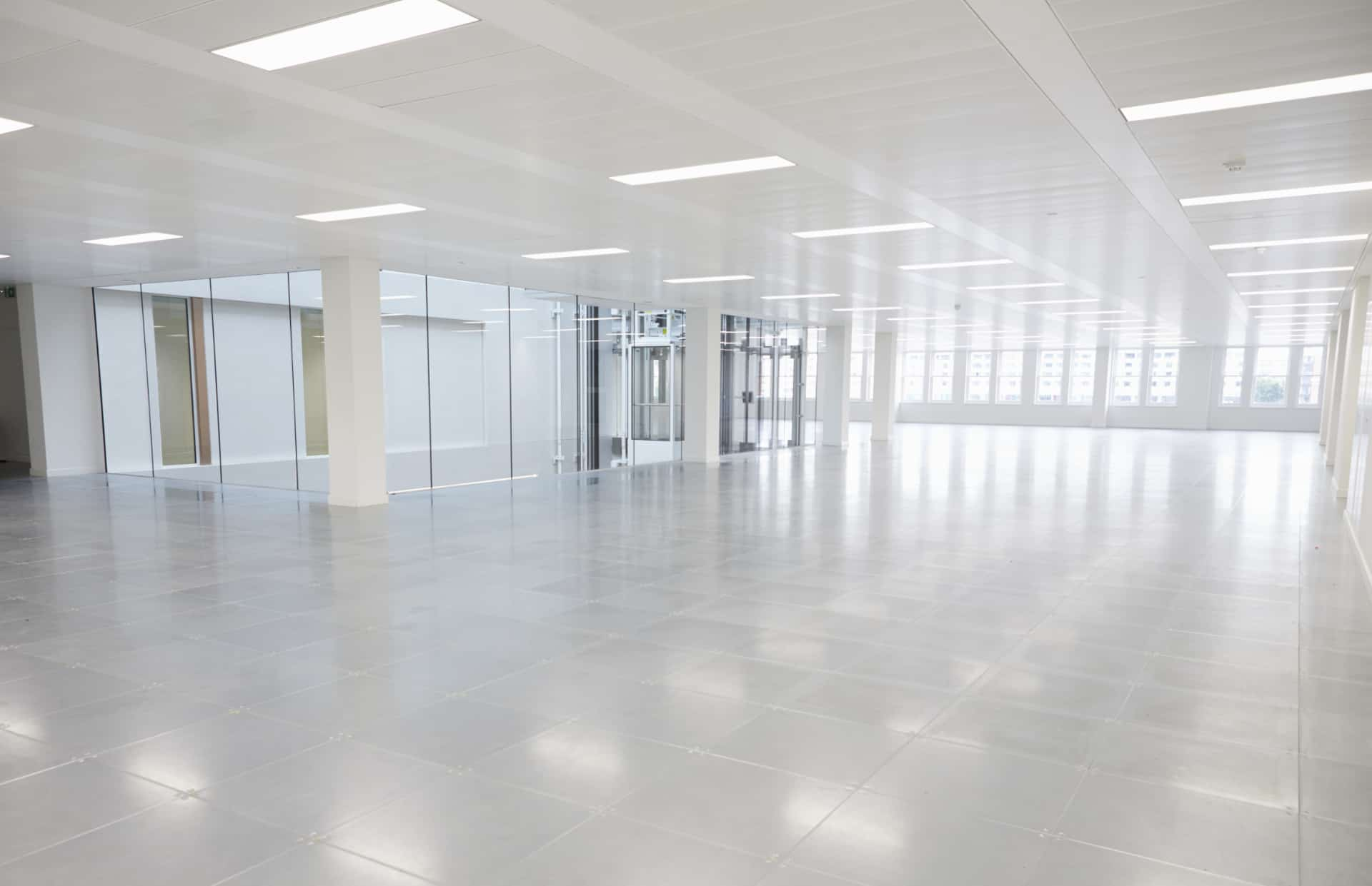 commercial led lighting in large white room