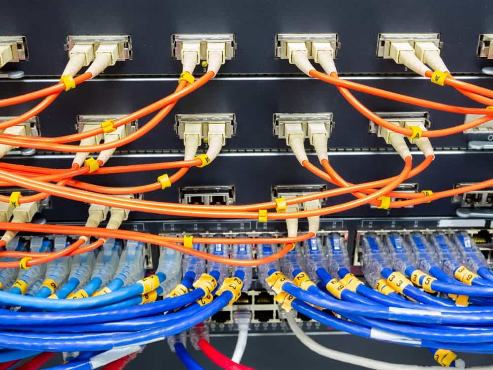 fiber optic cabling and network cabling into switches